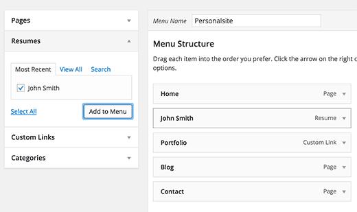 Adding resume link to navigation menu
