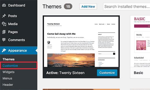 Meluncurkan penyesuai tema di WordPress
