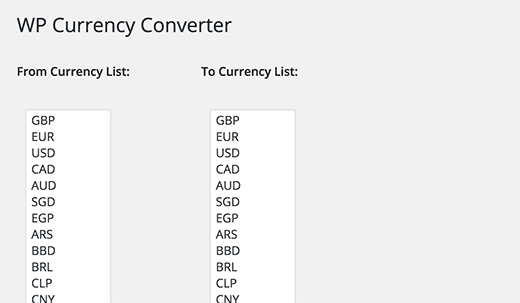 Adding or removing currencies from the currency converter