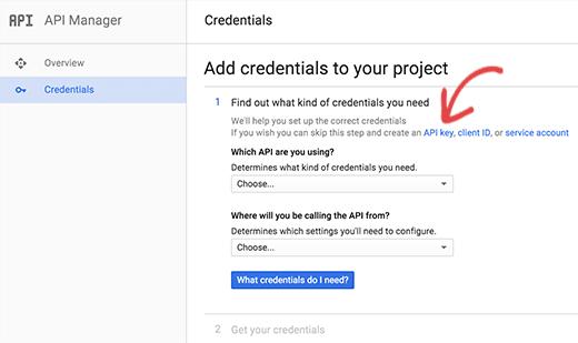 Click on API key link to generate API key