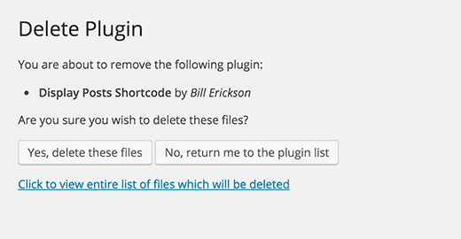 Deleting a WordPress plugin to unintsall it