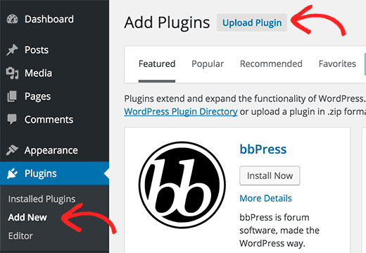 Uploading a plugin from WordPress admin area