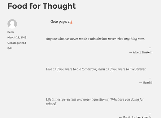 Quotes list with pagination