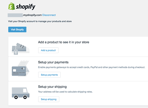 Shopify settings in WordPress