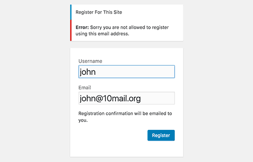 Disposable email address error