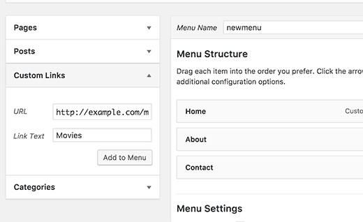 Adding a post type archive link as a custom link