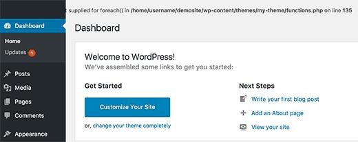 Kesalahan di area admin WordPress