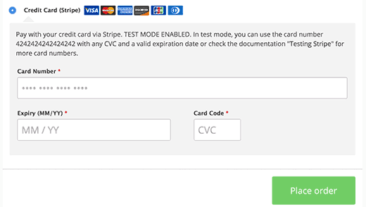 Stripe checkout in WooCommerce