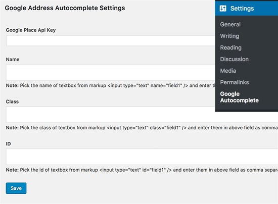 Autocomplete address field plugin settings page