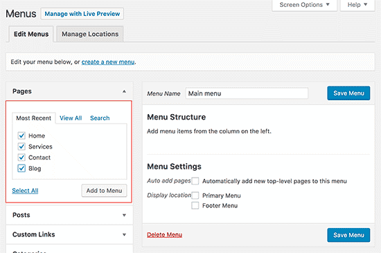 Add pages to WordPress menu