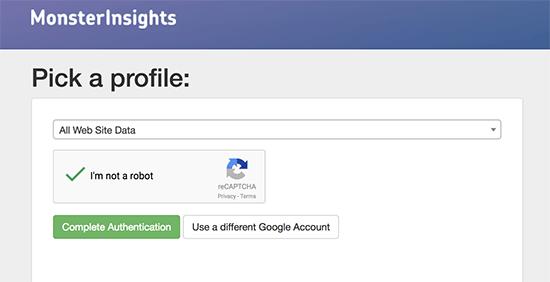 Selectați profilul site-ului dvs. Web