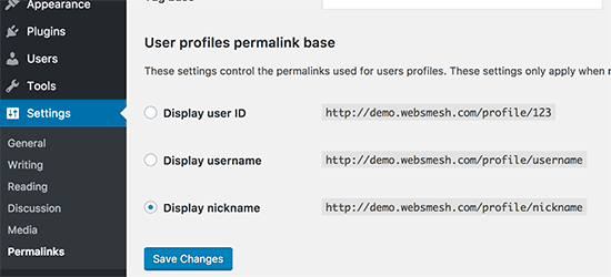 Select a URL structure for user profile pages