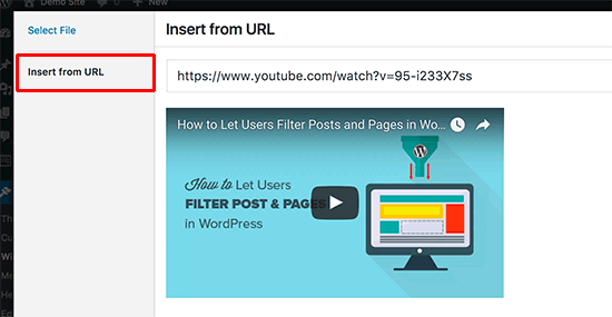 Insert video URL inside Video widget
