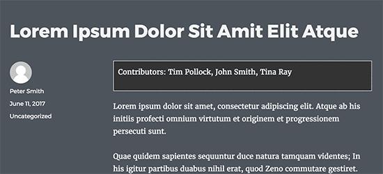 Co-authors displayed using custom fields