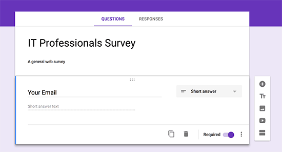 Adding form fields in Google Forms