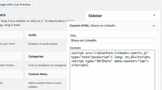 Linkedin button in a sidebar widget
