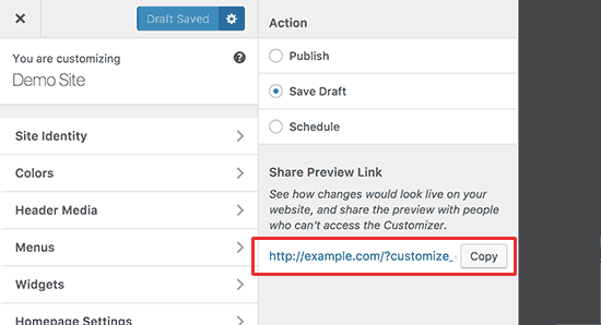 Share customize changes with URL