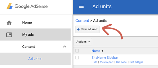 Creating a new ad unit in Google AdSense