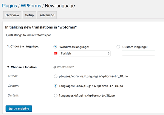 Adding a new language in Loco Translate