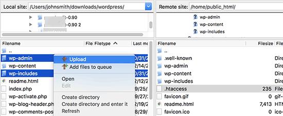 Unggah file WordPress baru