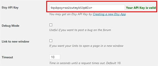 Add valid Etsy API key
