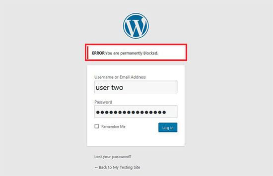Login screen for blocked user