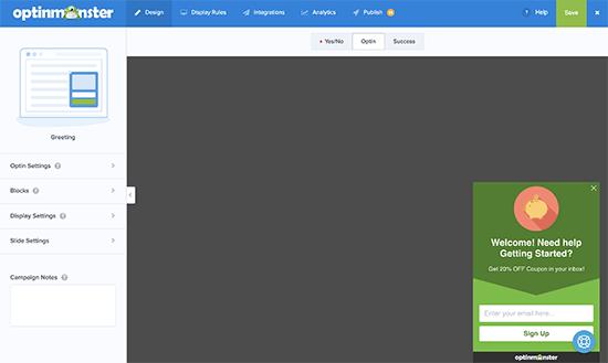 OptinMonster builder interface