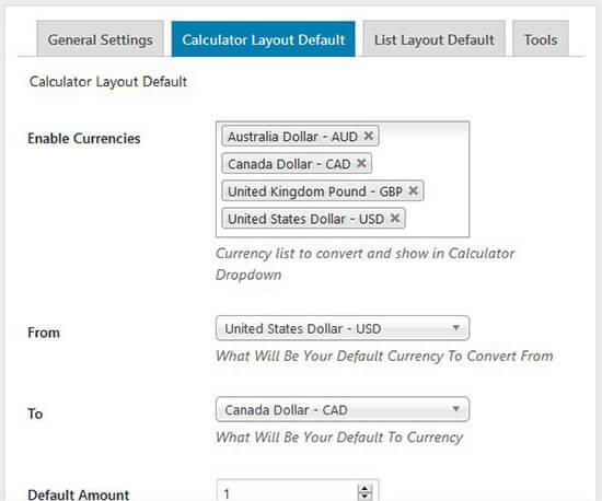 Default calculator layout