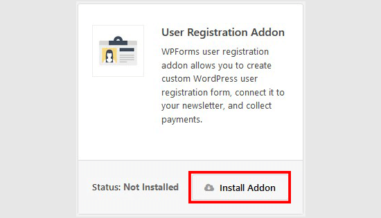 User registration addon