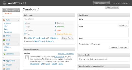 WordPress 2.7 Dashboard