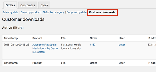 Customer downloads