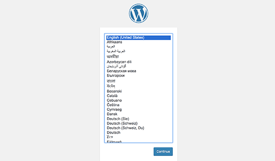Select WordPress language