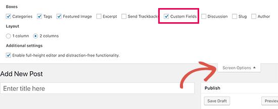 Show custom fields meta box