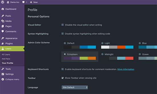 Admin schemes with dark mode