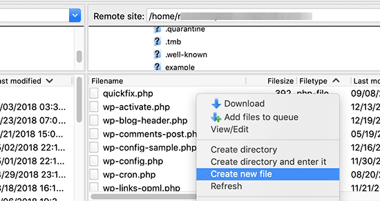 Create robots.txt file using FTP
