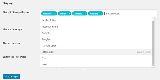 Кнопка добавления общего количества плагинов Shared Counts