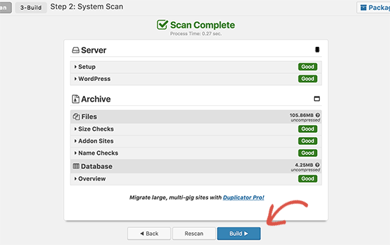 Build Duplicator package for switching to new domain name