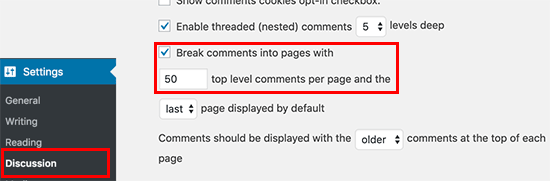 Break comments in pages