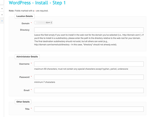 Fantastico WordPress install settings
