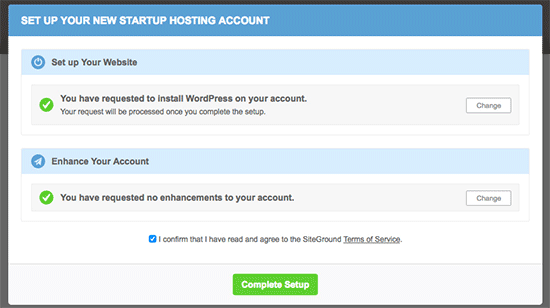 Finish WordPress installation on new SiteGround account