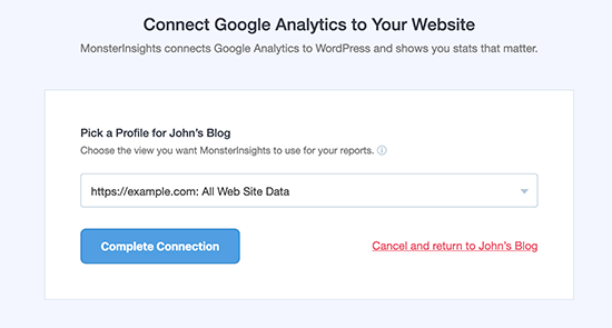 Select your website profile to compete setup