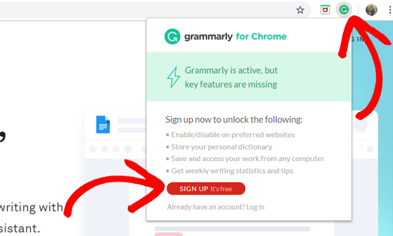 Grammarly Extension on Chrome - Sign Up