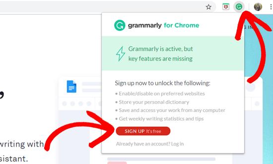 Расширение Grammarly на Chrome - регистрация