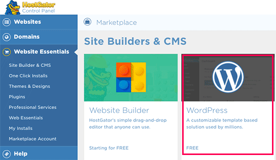 Select WordPress to begin installation