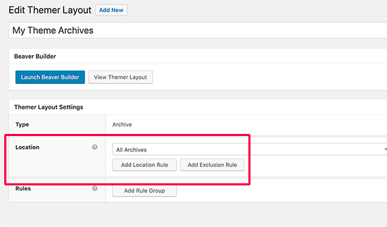 Archive layout settings