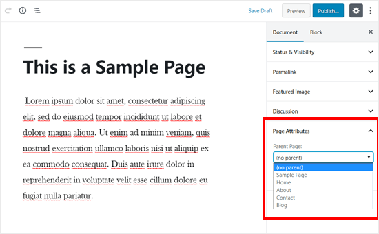 Page Attributes WordPress