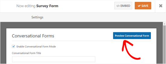 Preview button for Conversational Forms WordPress