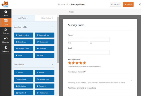 Editing Survey Form with WPForms