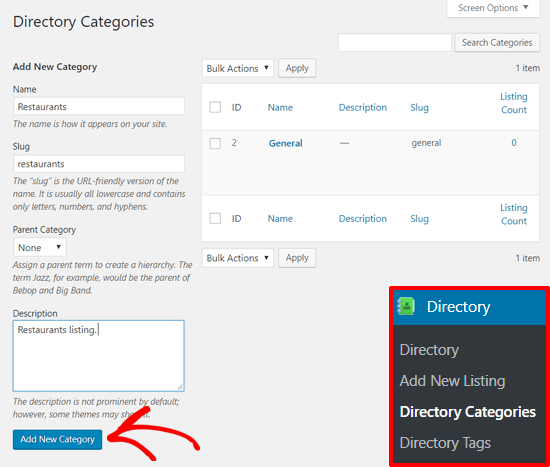 Add New Directory Category with Business Directory Plugin