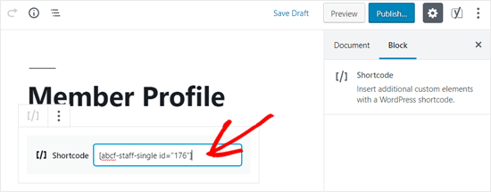 Add Staff Member Single Page Shortcode to your WordPress Page